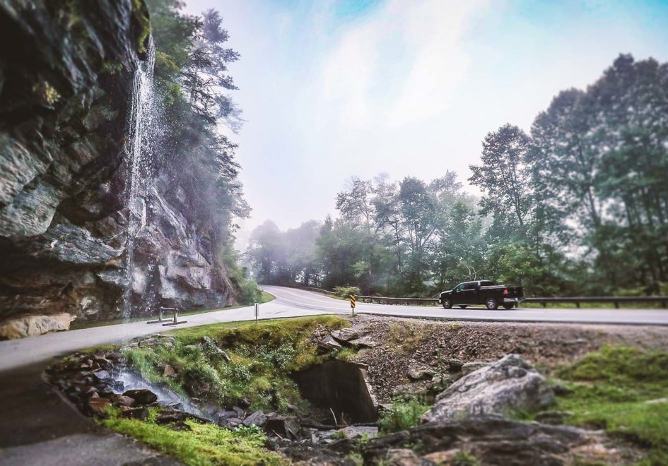 Access to Bridal Veil Falls is easy -- right off the highway.