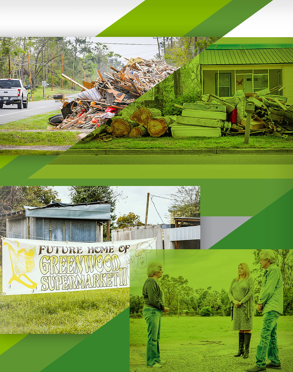 In the months following Hurricane Michael's landfall, Regions supported storm recovery through one-on-one services for individual customers, small-business financing to help local companies rebuild, and financing for the removal of storm debris before FEMA funding could arrive from Washington.