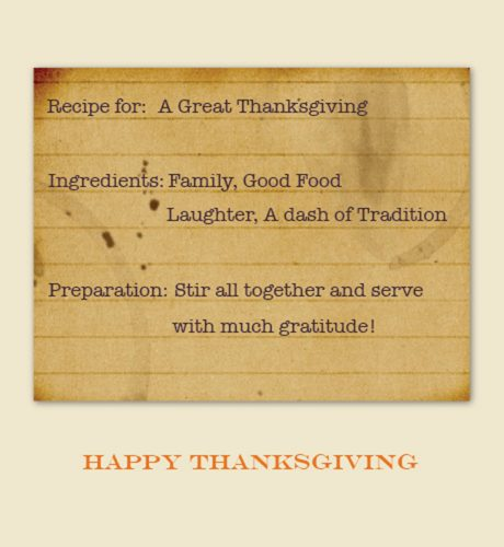 Thanksgiving Recipe E-Card